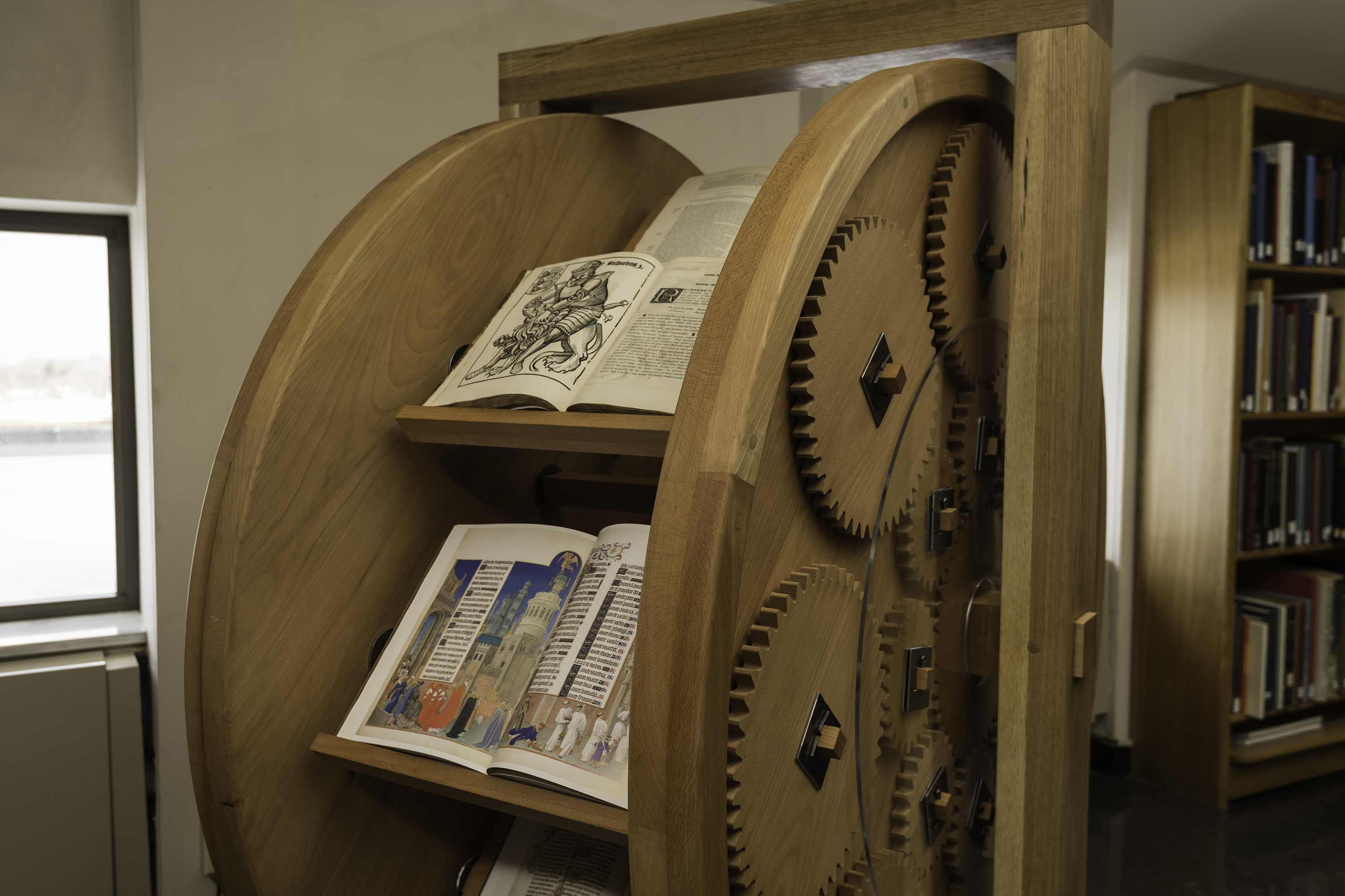 Book wheel located in Robbins Library