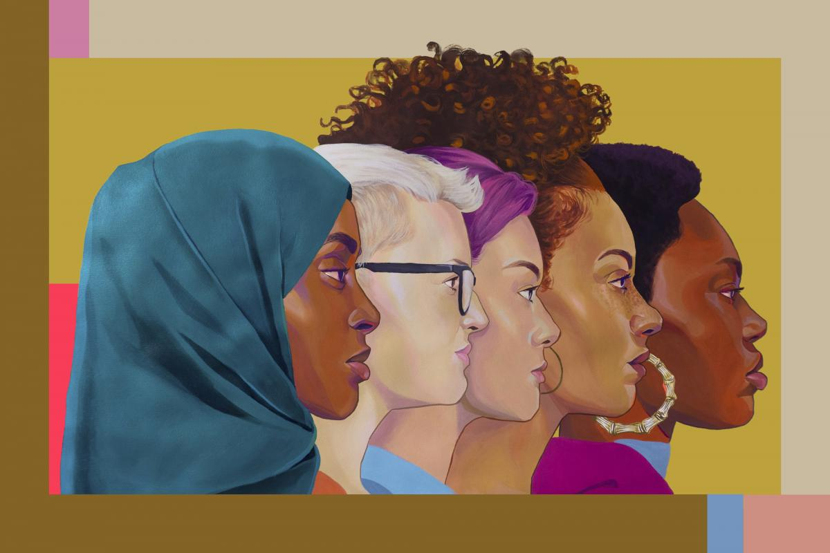 Mural of five diverse women
