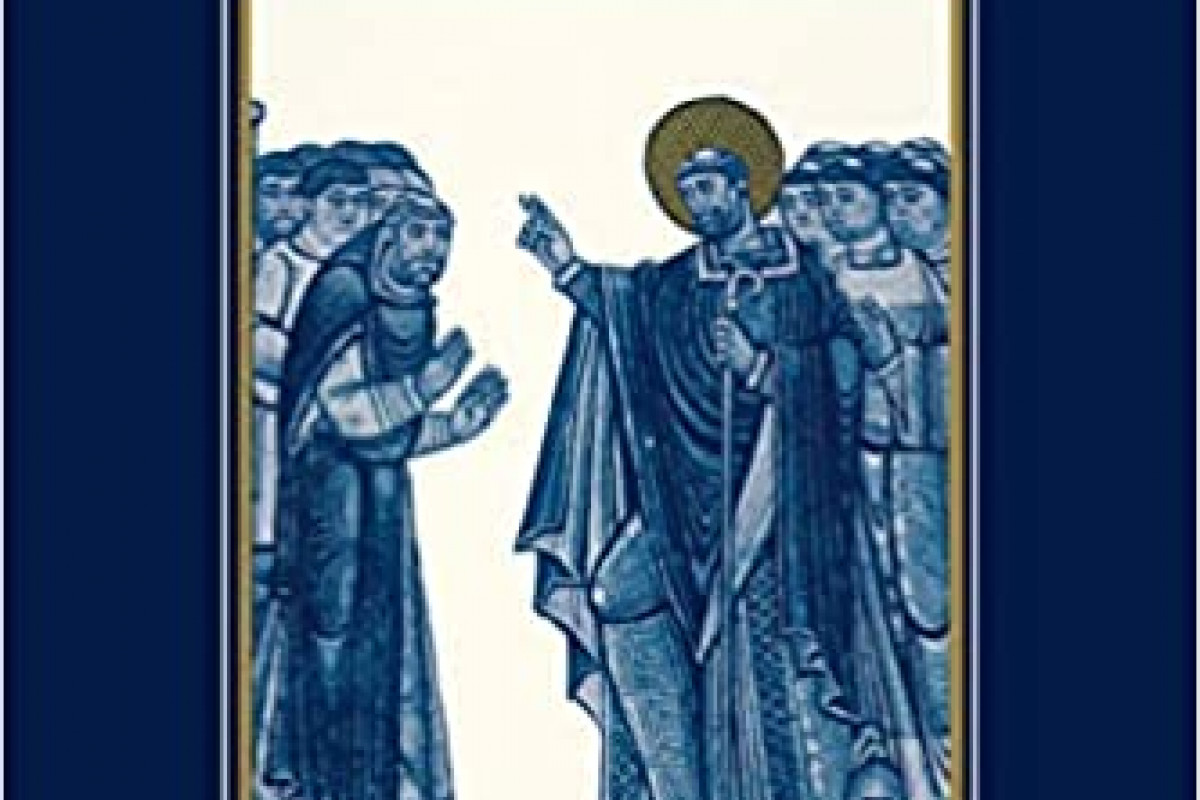 "Book cover for ""Images of Sainthood in Medieval Europe"" showing a saint speaking to others"