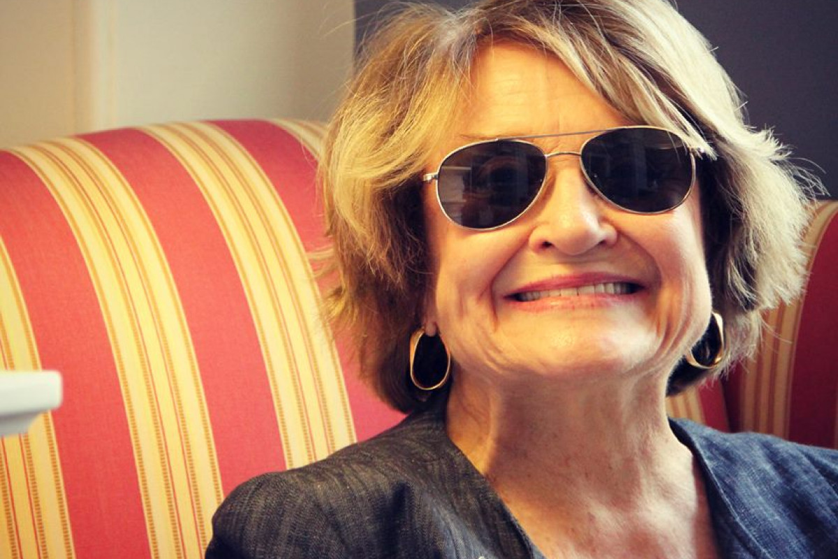 Congresswoman Louise Slaughter wearing a pair of aviator sunglasses