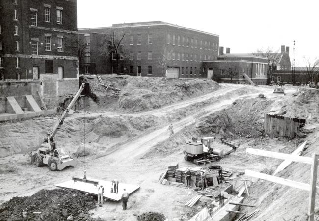 Construction site for Rush Rhees Library addition