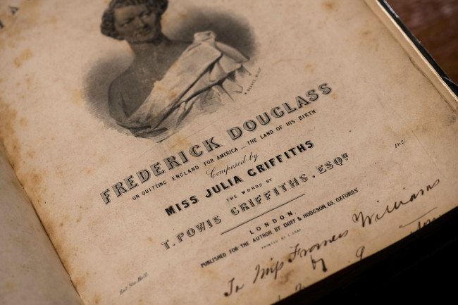 "The ""cover sheet"" from a volume of sheet music for ""Farewell Song of Frederick Douglass"""