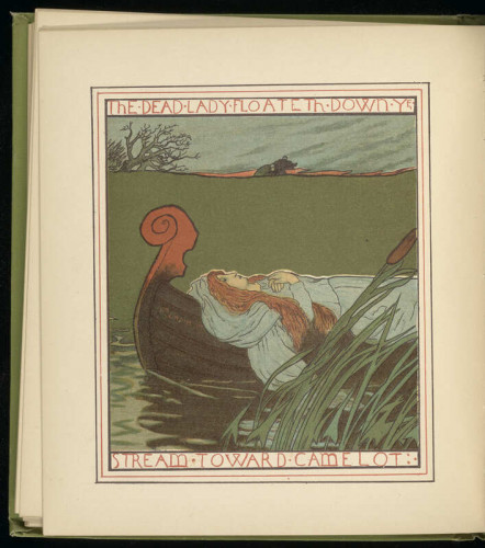 Illustration of the Lady of Shalott lying in a boat floating down a stream