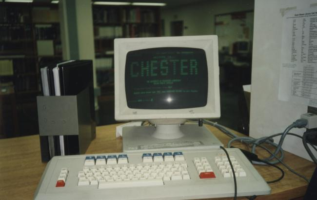 "One of the library's old Geac terminals, also known as ""Chester."""
