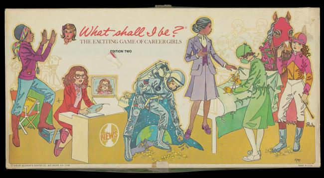 Old board game cover showing a woman broadcaster, surgeon, teacher, astronaut, jockey, and theater director