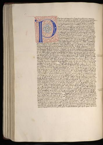 Barbarigo's manuscript: Showing large penwork indication new section of the text