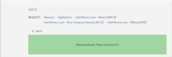 Banner displaying that your digitization request has placed