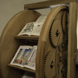 View of the Medieval Book Wheel in Robbins Library