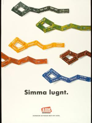 Sperm cells formed by condom packages. Swedish Aids Poster that reads 'Kondom skyddar mot HIV/AIDS'