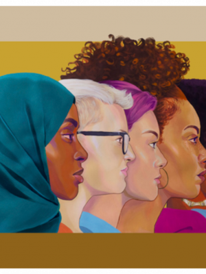 Brittany Williams Mural for Women Running Rochester exhibit